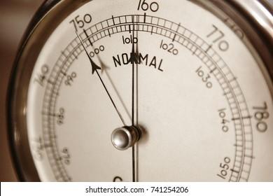 Classic barometer detail. Air pressure measure instrument. Weather information. Horizontal