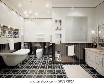 Classic bathroom interior design with white and black tiles and mosaics. 3d render