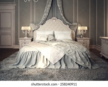 Classic bedroom interior. 3d images