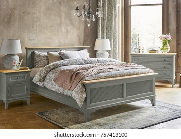 Classic bedroom interior with modern bed