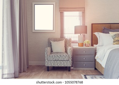 classic bedroom style with cozy sofa and pillow, interior design concept, vintage style process