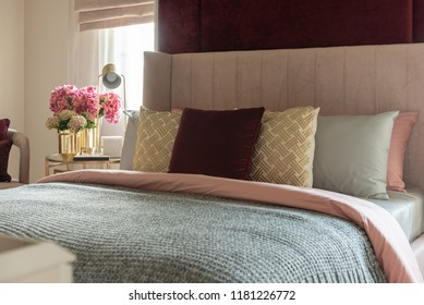 classic bedroom style with set of pillows on bed, interior design decoration concept