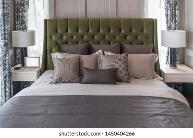 classic bedroom style with set of pillows on bed, interior design concept decoration