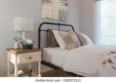 classic bedroom style with single bed and set of pillows, interior design decoration concept