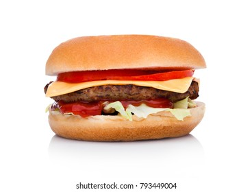 Classic beef cheeseburger with vegetables and sauce on white background