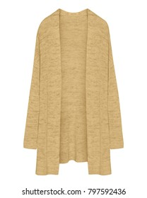 Classic beige cardigan long unbuttoned sweater isolated on white