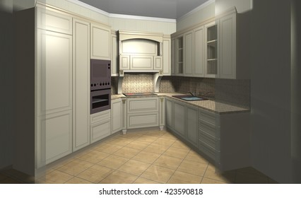 classic beige interior design of furniture for kitchen 3D rendering