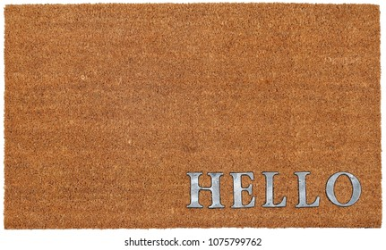 "Classic beige and Silver zute / coir Outdoor Door mat with ""Hello"" text"