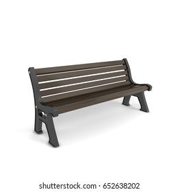 Classic bench. 3d illustration isolated on white background