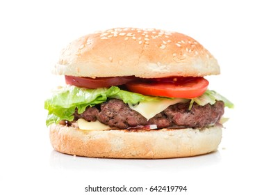 Classic big burger cheeseburger isolated on white background
