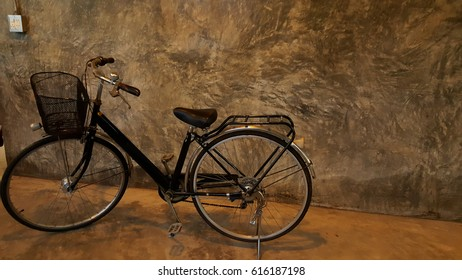 Classic bike with vintage wall use for bike background