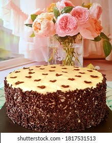 Classic birthday cake with chocolate and moccha frosting