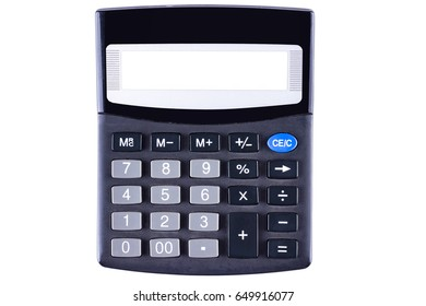 Classic black calculator with blank screen isolated on white background.