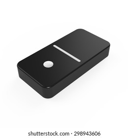 Classic black domino tile with white dots