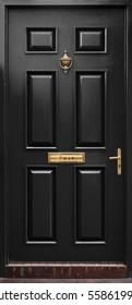 Classic black door isolated