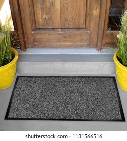 Classic black grey welcome door mat with black border