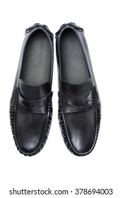 Classic Black Leather Men Shoes , Men Accessories isolated on white