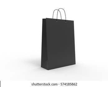 Classic black shopping bag, isolated. 3d illustration.