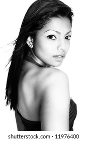 Classic black and white. Female fashion model in black and white