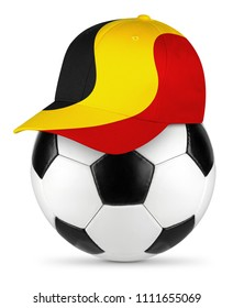 Classic black white leather soccer ball belgium belgian flag baseball fan cap isolated background sport football concept