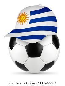 Classic black white leather soccer ball uruguay uruguayan flag baseball fan cap isolated background sport football concept