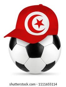 Classic black white leather soccer ball tunisia tunisia flag baseball fan cap isolated background sport football concept