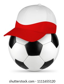 Classic black white leather soccer ball  poland polish flag baseball fan cap isolated background sport football concept