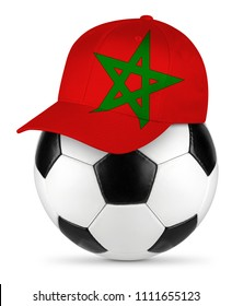 Classic black white leather soccer ball with Morocco baseball fan cap isolated background sport football concept