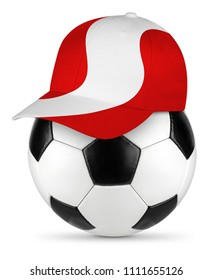 Classic black white leather soccer ball peru peruvian flag baseball fan cap isolated background sport football concept