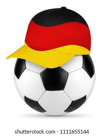 Classic black white leather soccer ball with spain spanish baseball fan cap isolated background sport football concept