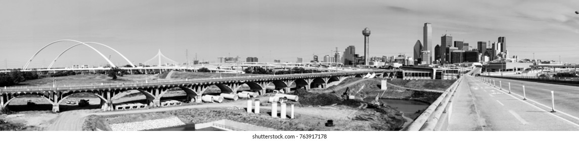 A classic black and white long panramic of the bridges and architecture of Dallas Texas