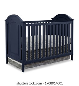 Classic Blue Convertible Crib of Solid Pine Wood Isolated on White Background. Luxurious Bed with Removable Guard Rails and Hypo-allergenic Mattress Front & Side View. Contemporary Wooden Baby Cradle