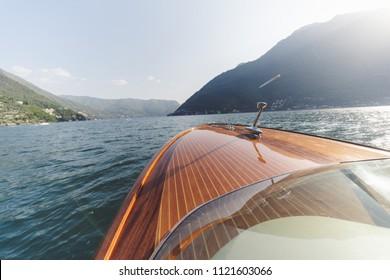 classic boat on como lake