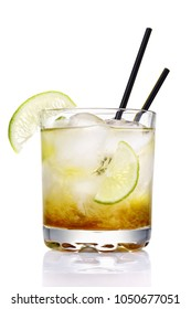 Classic Brazilian cocktail of caipirinha. Glass of fresh alcoholic drink isolated on a white background
