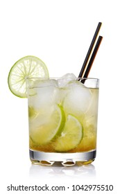 Classic Brazilian cocktail of caipirinha isolated on white background