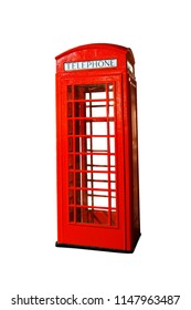 Classic British red phone booth, London, isolated on white