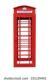 Classic British Red Phone Booth isolated on white with clipping path, Front View