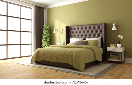 Classic brown and green master bedroom with leather double bed and nightstand - 3d rendering