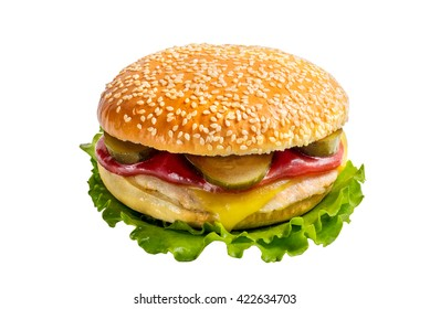 classic burger on a white background