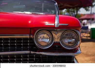 Classic Cadillac Convertible Headlight and Front View.