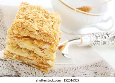 Classic Cake Napoleon of puff pastry with cream.