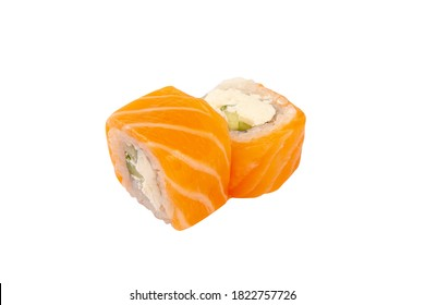 classic California roll with fish, salmon, avocado, cheese, and rice. Japanese cuisine. on white background.