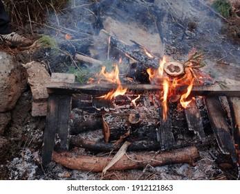 Classic camping campfire at closeup