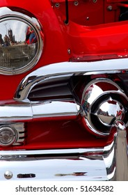 Classic candy apple red vintage car headlight