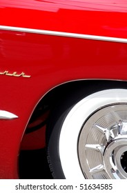 Classic candy apple red vintage car tire