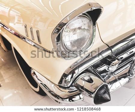 Classic Car Background Close Headlight Classic Stock Photo Edit Now