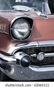 Classic car with close up shot front right view