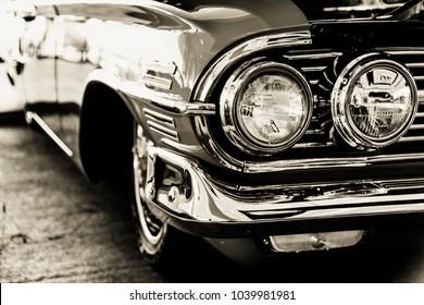 Classic car headlights close-up
