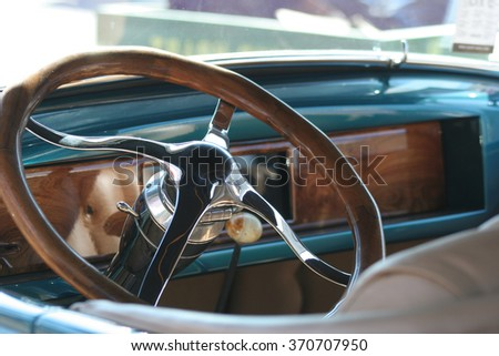 Classic Car Interior Wooden Steering Wheel Stock Photo Edit Now