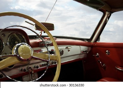 Classic Car Red and White Dashboard (Windows Path Included)